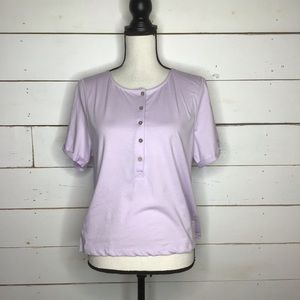 New Free People Whats Up Henley Short Sleeve Lilac